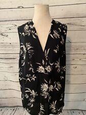 Halogen Women Tank Top Size Large Black White Sleeveless Blouse Floral Print