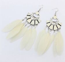 Earring Boho Festival Boutique Uk White Aztec Long Feather Dream Catcher