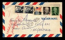1971 Combo Correct Rate Airmail Cover to Argentina - L9590