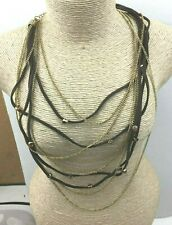 Fashion Necklace NWOT Rhinestone Topaz Goldtone Suede Draping MUlti Chain