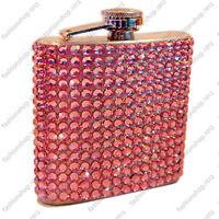 New 6oz Pink Bling Rhinestone Diamond Stainless Steel Hip Flask