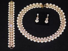 3PC Gold Set Hugs and Kisses Pearl, Rhinestone Necklace & Earrings and Bracelet