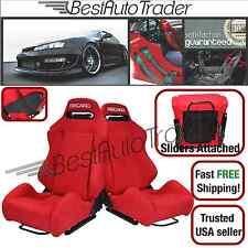 PAIR RECARO SR3 SRD SEAT RED FABRIC PAIR RECLINABLE LOW MAX CUGA VIOS