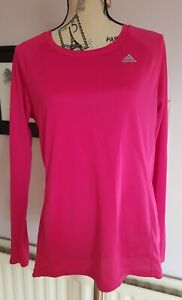 Adidas Climalite Bright Pink Running Jogging Long Sleeve Top Tshirt Size L 16 18