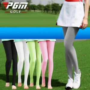 PGM Women Breathable Ice Silk Golf Pants Socks Elastic Sunscreen Cool Leggings