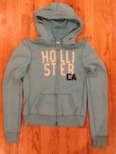 Women's Juniors Hollister Hoodie Signature Full Zip Turquoise with White Sz Med