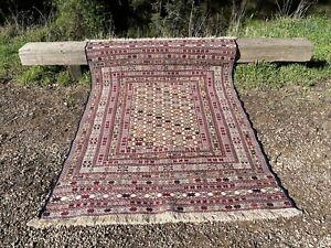 Hand-Knotted Vintage Soumak Carpet 195 x 132 cm Soumak Naural Dye Rug
