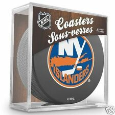 NEW YORK ISLANDERS Hockey TEAM LOGO 4 COASTERS SET NEW Made from Actual Puck NHL