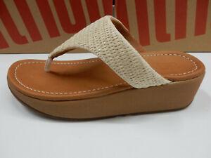 FitFlop Womens Imogen Basket Weave Toe Thongs Stone 9