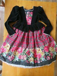 Daisy Kingdom Girls Dress Size 8 Black Velvet Floral Lace Plaid Modest