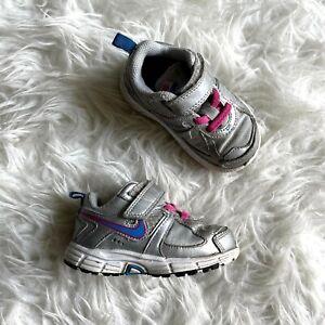 Nike Toddler Girl 6C Dart Sneakers Shoes Gray Pink Blue Hook & Loop