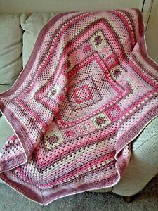 Handmade OOAK Crochet Blanket Throw Afghan Camper Campervan Granny Square Pink