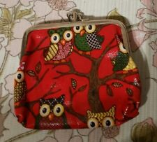 """Waxed Oil Cloth Owl Purse 2 Coin Sections 4"""" x 4"""" Red"""