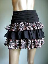 Lux Anthropologie Tiered Ruffle Floral Miniskirt, Black & Pink, JR Sz 5