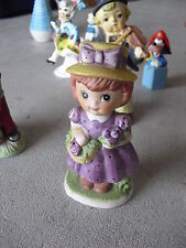 """Vintage 1980 Cma Bisque Little Girl with Basket Figurine 5"""" Tall"""