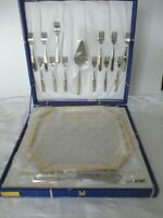 GOTTINGHEN 18/10 STAINLESS w/GOLD TRAY &12 DESSERT FORKS + SERVING PCS ITALY NIB