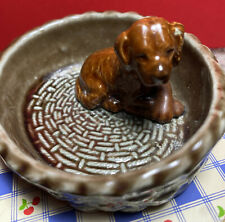 Vintage Wade England Dachshund ? or other Puppy Dog In A Basket Figurine