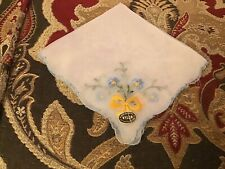 Vintage Sheer Nylon Made In Austria Embroidered Hankie