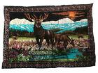 VTG Wall Tapestry Hanging Deer Velour Velvet Style Wall Art Fabric Forest