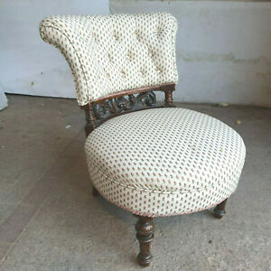 antique,victorian,upholstered,small,carved,chair,nursing,bedroom,hall,bathroom,