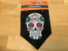 "Simply Dog Skull Printed Pet Bandana Halloween Dog Costume Size XS/Small 8""-11"""