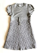 SIMONETTA grey dress in wool mix +  taffetas for girl - size 10 years