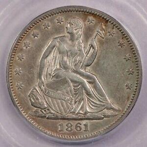 1861-P 1861 Seated Liberty Half Dollar ICG AU58 Details