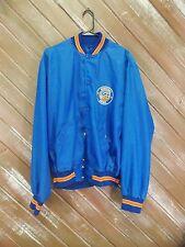 Vintage Quebec Basketball Jacket Windbreaker Satin Snap Up Blue Men's Size Large