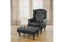 Sessel Chesterfield design schwarz mit Ottomane Hocker Ohrensessel Relaxsessel