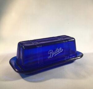 COBALT STICK BUTTER DISH Vintage Lidded Style BLUE GLASS Crisscross Pattern NEW