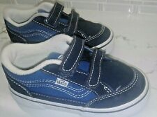 VANS Bearcat V Strap Black/Blue Leather Size 10 Toddler Shoes EUC!