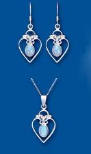 Blu opale ciondolo e parure orecchini argento sterling massiccio CUORI