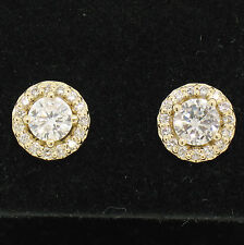 NEW 14k Yellow Gold 1.12ctw Round Brilliant Diamond Stud Earrings w/ Pave Halos
