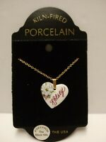 "Porcelain Name Necklace ""Kelsey"" Kiln Fired USA 16"" Long Gold Tone Nice Quality"