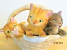 Vintage Enesco 80's Fred Aman 3 Kittens Cats In A Ceramic Weaved Basket Taiwan