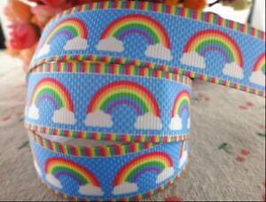"RAINBOW Grosgrain RIBBON 1m x 22mm width (7/8"") birthday cake cup cakes"