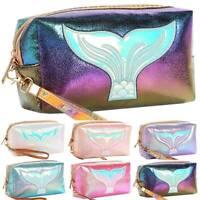 Women Cosmetic Travel Handbag Fish Mermaid Tail Print Zipper Make Up Pouch Bag