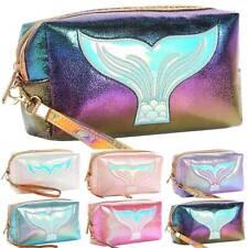Women Fish Mermaid Tail Print Cosmetic Travel Handbag Zipper Make Up Pouch Bag