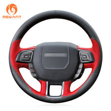Custom Black Red Leather Steering Wheel Cover for Land Rover Range Rover Evoque