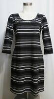 Mudd Striped Bodycon Soft Dress Black White Gray 3/4 Sleeves Size Large