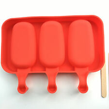 Silicone Ice 3 Cavity  Pop Mold Ellipse Shape Popsicle Safety with Wood Sticks