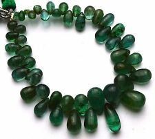 Natural Gem Super Quality Emerald Smooth Drop Shape Briolettes 3x5 to 6x10MM 6""
