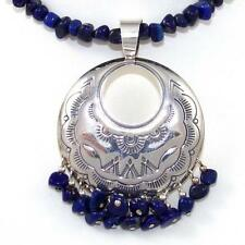 Vintage Sterling Silver Blue Lapis Dangle Bead Pendant Adjustable Necklace 19""