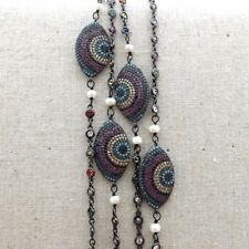 """GE080603 38"""" White KeshiPearl Cz Pave Connector Chain Necklace"""