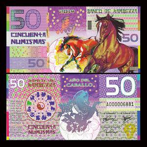 Kamberra 50 Numismas, China Lunar Year 2014, Polymer, UNC Horse, Banknotes