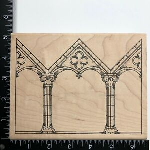 Stampers Anonymous Jumbo Roman Pillars Columns Wood Mounted Rubber Stamp X1633