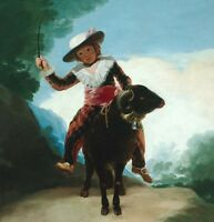 """stunning oil painting handpainted on canvas """"a child riding on a sheep""""@N5363"""