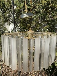 1980s Lucite Chandelier 21 X15 Polished Brass Hanging Light, Vintage As Is