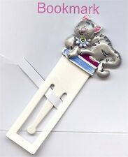 "1 ""KITTEN"" NOVELTY RHINESTONE ENAMEL RETRO BOOKMARK M18"
