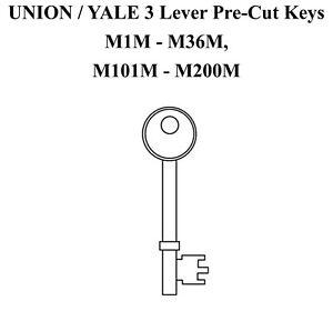 Union & Yale  M1M - M36M and M101M - M200M Pre Cut Mortice Key / Mortice Keys